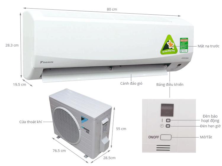 Máy lạnh Daikin FTKQ50SVMV inverter công suất 2Hp Model 2018