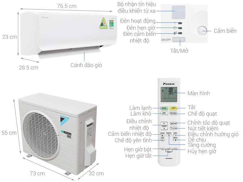 Máy lạnh Daikin FTKA25UAVMV Inverter công suất 1Hp model 2020